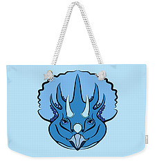 Triceratops Graphic Blue Weekender Tote Bag by MM Anderson