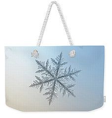 Weekender Tote Bag featuring the photograph Snowflake Photo - Silverware by Alexey Kljatov