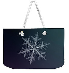 Weekender Tote Bag featuring the photograph Snowflake Photo - Neon by Alexey Kljatov