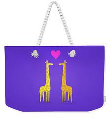 Cute Cartoon Giraffe Couple In Love Purple Edition Weekender Tote Bag by Philipp Rietz