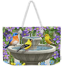 Fountain Festivities - Birds And Birdbath Painting Weekender Tote Bag