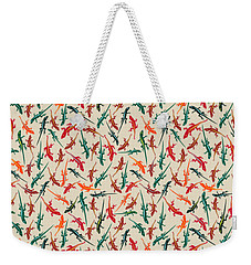 Colorful Anole Lizards Weekender Tote Bag by MM Anderson