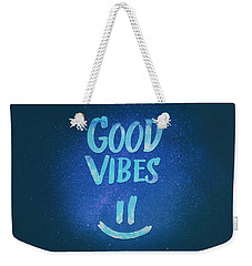 Good Vibes  Funny Smiley Statement Happy Face Blue Stars Edit Weekender Tote Bag by Philipp Rietz