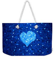 Winter Blue Crystal Heart Weekender Tote Bag