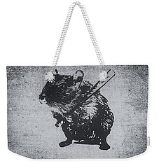 Angry Street Art Mouse  Hamster Baseball Edit  Weekender Tote Bag by Philipp Rietz