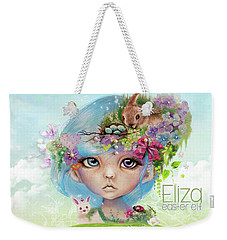 Weekender Tote Bag featuring the drawing Eliza - Easter Elf - Munhkinz Character by Sheena Pike