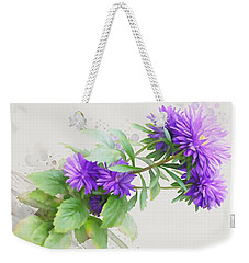 Weekender Tote Bag featuring the painting Purple Aster by Ivana