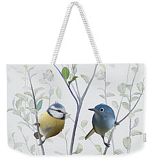 Weekender Tote Bag featuring the painting Birds In Tree by Ivana