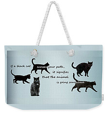 Weekender Tote Bag featuring the digital art Black Cat Crossing by Ivana Westin