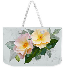 Weekender Tote Bag featuring the painting Two Wild Roses by Ivana Westin