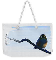 Weekender Tote Bag featuring the painting Eye To Eye With Silvereye by Ivana Westin