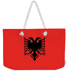 Weekender Tote Bag featuring the digital art Flag Of Albania Authentic Version by Bruce Stanfield