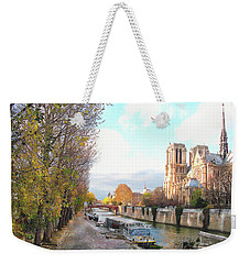 Weekender Tote Bag featuring the photograph The Seine And Quay Beside Notre Dame, Autumn by Felipe Adan Lerma