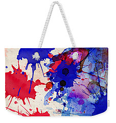 Blue And Red Color Splash Weekender Tote Bag