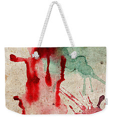 Green And Red Color Splash Weekender Tote Bag