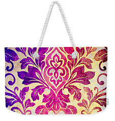 Purple Damask Pattern Weekender Tote Bag