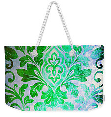 Green Damask Pattern Weekender Tote Bag