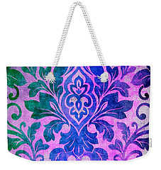 Blue Damask Pattern Weekender Tote Bag