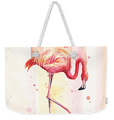 Pink Flamingo Watercolor Rain Weekender Tote Bag by Olga Shvartsur
