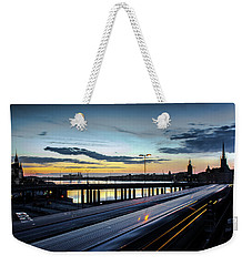 Weekender Tote Bag featuring the photograph Stockholm Night - Slussen by Nicklas Gustafsson