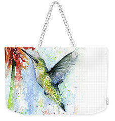 Hummingbird And Red Flower Watercolor Weekender Tote Bag by Olga Shvartsur