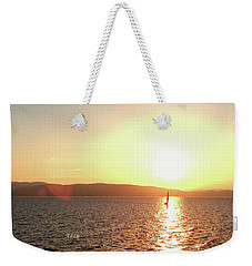 Solitary Sailboat Weekender Tote Bag