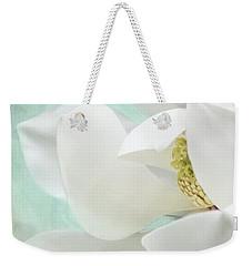 Magnolia Blossom, Soft Dreamy Romantic White Aqua Floral Weekender Tote Bag