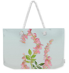 Weekender Tote Bag featuring the painting Pink Tiny Flowers by Ivana Westin