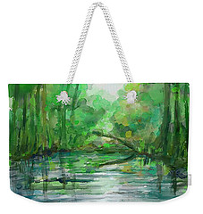 Weekender Tote Bag featuring the painting Lost In Colors  by Ivana Westin