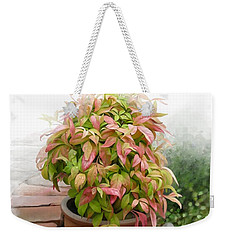 Weekender Tote Bag featuring the painting Dew On Leaves by Ivana Westin