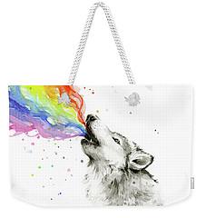 Wolf Rainbow Watercolor Weekender Tote Bag