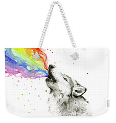 Wolf Rainbow Watercolor Weekender Tote Bag by Olga Shvartsur