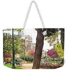 Notre Dame From Square Rene Viviani Weekender Tote Bag by Felipe Adan Lerma
