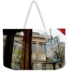 Weekender Tote Bag featuring the photograph Paris Cafe Views Reflections by Felipe Adan Lerma
