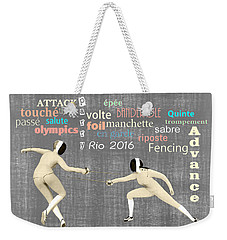 Weekender Tote Bag featuring the digital art Fencing Duo by Methune Hively