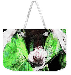 Goat Pop Art - Green - Sharon Cummings Weekender Tote Bag by Sharon Cummings