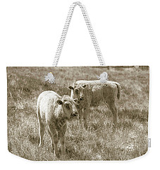 Weekender Tote Bag featuring the photograph Pair Of Baby Buffalos by Rebecca Margraf