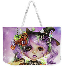 Weekender Tote Bag featuring the drawing Halloween Hannah - Munchkinz Character  by Sheena Pike