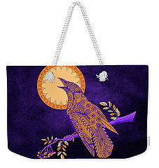 Halloween Crow And Moon Weekender Tote Bag by Tammy Wetzel