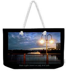 Boat, Lights, Sunset On Lady Bird Lake Weekender Tote Bag by Felipe Adan Lerma