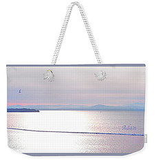 Lake Champlain South From Atop Battery Park Wall Panorama Weekender Tote Bag