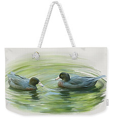 Weekender Tote Bag featuring the painting Blue Ducks  by Ivana Westin