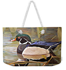 Wood Duck On Pond Weekender Tote Bag