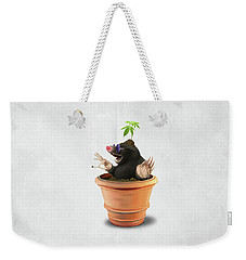 Weekender Tote Bag featuring the drawing Pot Wordless by Rob Snow