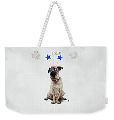 Weekender Tote Bag featuring the drawing A Pug's Life by Rob Snow