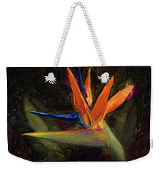 Weekender Tote Bag featuring the painting Extravagance - Tropical Bird Of Paradise Flower by Karen Whitworth
