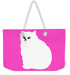 Cartoon Plump White Cat On Pink Weekender Tote Bag