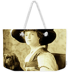 Weekender Tote Bag featuring the photograph Vintage Lady With Lapdog by Marian Cates