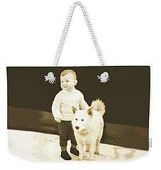Sweet Vintage Toddler With His White Mutt Weekender Tote Bag
