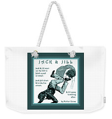 Weekender Tote Bag featuring the painting Jack And Jill Vintage Mother Goose Nursery Rhyme by Marian Cates